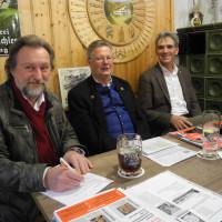 Dirk Reichenau, Sepp Konhäuser und Hans Schild beim Politischen Aschermittwoch in der Ledern